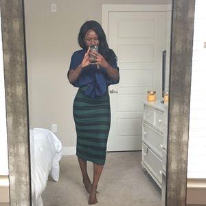 Olive + Black Striped Midi Skirt. NWT